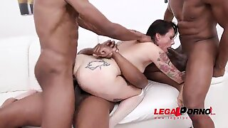 Hardcore anal slut Adeline Lafouine rides huge dildos and gets fucked 5on1 with DAP, Fisting &amp_ 0% Pussy fucking SZ2547