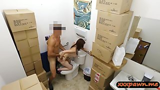 Pretty babe gives head and nailed in pawnshops toilet