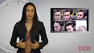 Naked presenters from Venezuelan DLN TV - stripping news online 6
