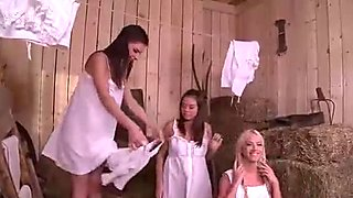 Farmer Blown by 3 Sexy Step Daughters