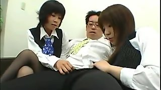 Dominant Japan office ladies play with bosses hardon