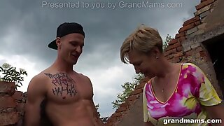 trio of the greatest super hot matures outdoor fuck and suck