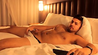 Don Stone Watching Porn In Bed Masturbating with His Hot Latino Hairy Body