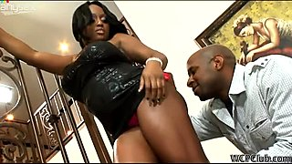 Awesome black gal with huge boobs Jada Fire wins a chance to suck a dick