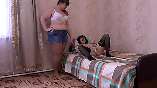 cunnilingus, licks hairy pussy and fucking toy, lesbians