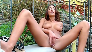 Busty coed August Ames trembles with orgasm