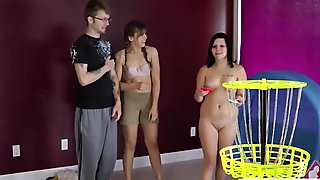 Cute blonde and brunette chick play a game of strip disc tos
