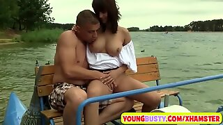 Young busty brunette loves fat dicks