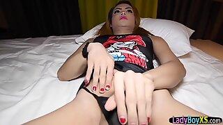 Real Thai ladyboy bareback fucked POV style