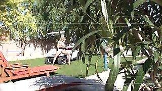 girl caught fingering herself on a golf cart