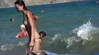 Slim Russian nudist getting a tan