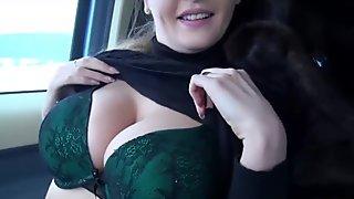 Eurobabe Alexa flashes her massive tits