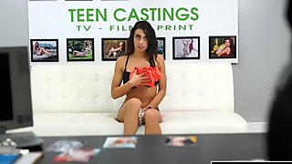 Slutty brunette teen gets wrecked in her first casting video