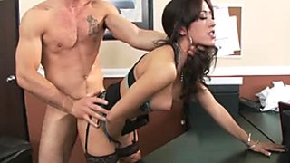 Torn slut Capri Cavalli is banged hard doggy style in the office