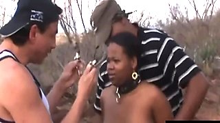African ebony slave blowjob doggy style threesome